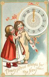 HEARTY GOOD WISHES FOR THE NEW YEAR  two children  look up at clock