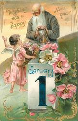WISHING YOU A HAPPY NEW YEAR  father time holds hour-glass over calendar, angel in pink left