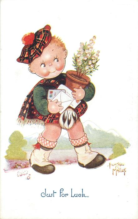 JUST FOR LUCK  girl dressed in tartan carries heather