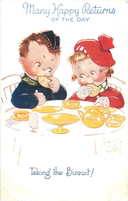 TAKING THE BISCUIT!  boy and girl sit at tea-table eating the last biscuits
