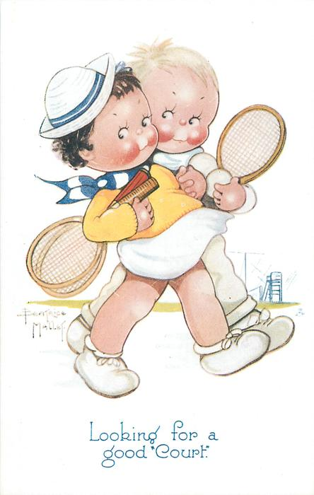 "LOOKING FOR A GOOD ""COURT""  boy & girl walk right arm in arm carrying tennis eackets & balls"