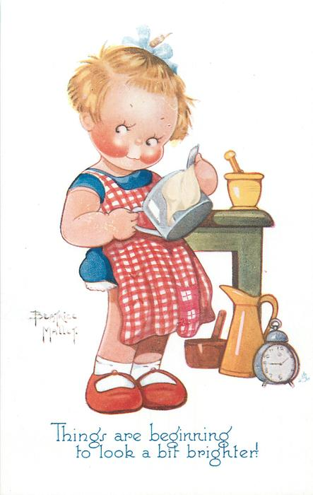 THINGS ARE BEGINNING TO LOOK A BIT BRIGHTER!  girl polishes silver tea-pot