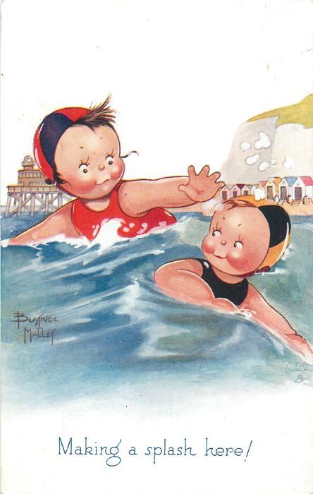 MAKING A SPLASH HERE!  couple swim in the ocean