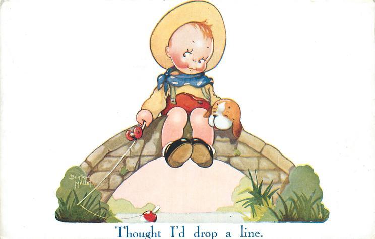 THOUGHT I'D DROP A LINE  boy sits on stone bridge fishing