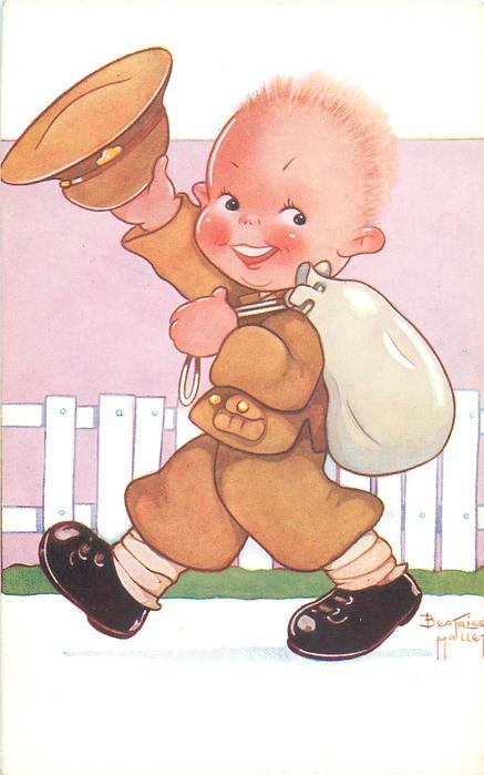 boy in soldiers uniform, hat in hand, kit-bag over shoulder, smiling, walking left looking front