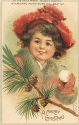 A MERRY CHRISTMAS  head & shoulders of girl in red beret, holds snowball, pine sprig & cones below