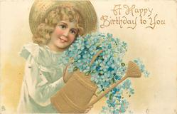 A HAPPY BIRTHDAY TO YOU  girl in straw hat with watering-can, forget-me-nots