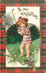 TO MY VALENTINE  angel in striped smock plays golf