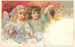 autumn, two fairies with grapes, autumn foliage, purple flowers
