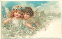 spring, two fairies with blue & white blossom, sky behind