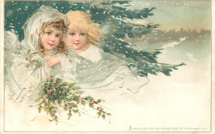 winter, two fairies, snow scene, holly & evergreen
