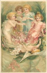 TELL ME WHO ARE HAPPIEST? - THEY WHO WIN OF LOVE THE BEST!  four children above white violets, cupid on his back below