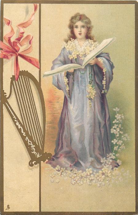 girl in purple gown, white flowers, harp left