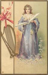 girl in purple gown, white flowers, harp left