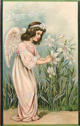 A HAPPY EASTER  angel bends to touch lilies, pink robe