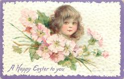 A HAPPY EASTER TO YOU  dark haired girl's face above pink blossom