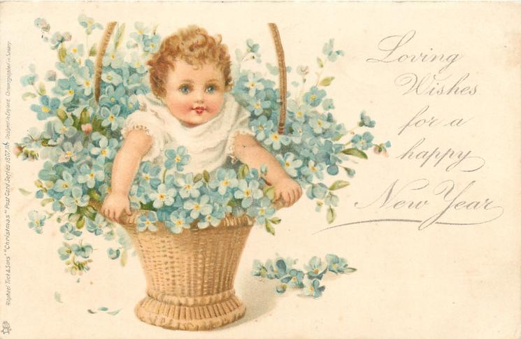 LOVING WISHES FOR A HAPPY NEW YEAR  baby standing in basket with forget-me-nots