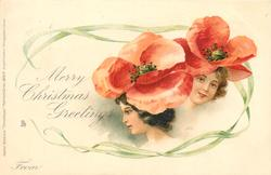MERRY CHRISTMAS (or NEW YEAR) GREETINGS, FROM  girls faces under orange/red poppies