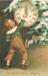 LOVING CHRISTMAS WISHES  boy in brown trousers, green top, sets clock hands to midnight