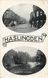 HASLINGDEN in scroll,  two insets  DEARDENGATE//CAMS,HELMSHORE