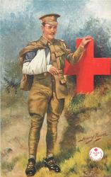soldier with one arm in sling, the other on a large red cross