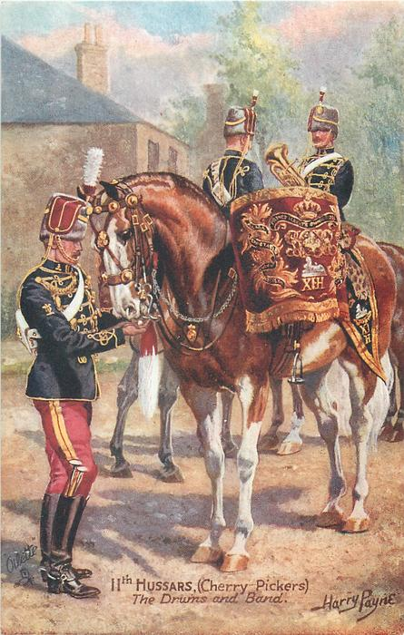 11TH HUSSARS, (CHERRY PICKERS) THE DRUMS AND BAND