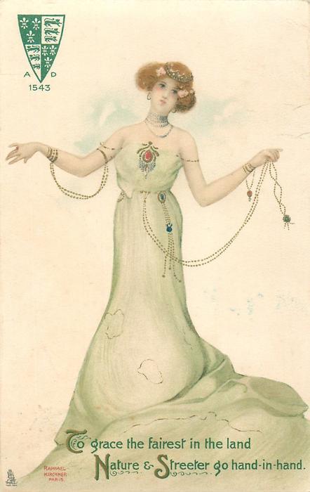 girl in green dress, displaying jewellery