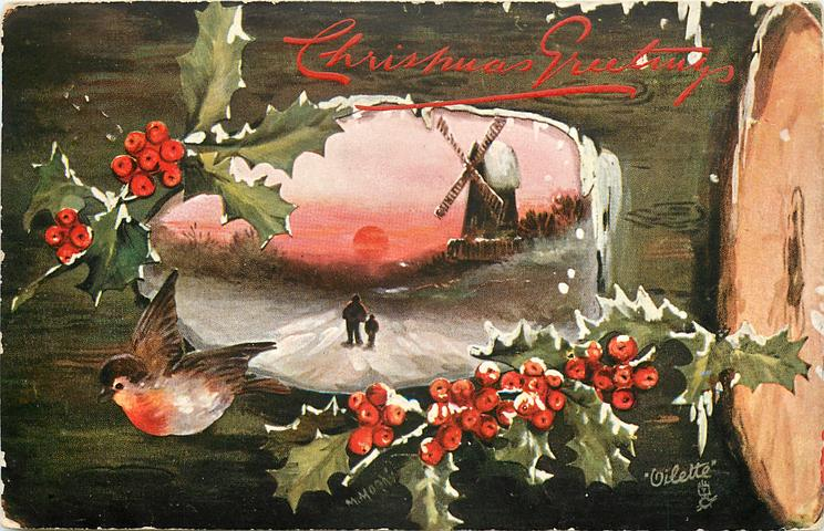 end of log right, robin is left side flying away from center insert, man and boy walking down road, sky red, toward windmill