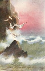 A ROCK THAT TURNS THE WRATH OF ALL THE RAGING WAVES INTO A FROTH  six white birds to upper left, big rock in water, rocks upper left, no rocks upper right