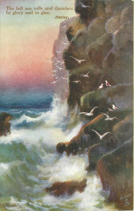 THE FULL SEA ROLLS AND THUNDERS IN GLORY AND IN GLEE  many birds & cliffs to right, rock in middle of left edge