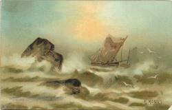 WHAT ARE THE WILD WAVES SAYING?  two sailboats right, two rocks left