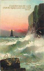 A ROCK THAT TURNS THE WROTH OF ALL THE RAGING WAVES INTO A FROTH  cliffs right, lighthouse left