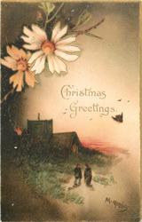 CHRISTMAS GREETINGS  sunset with church left, two people in front, yellow dasies above