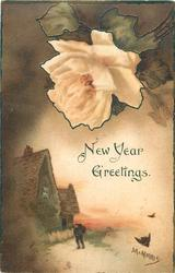 NEW YEAR GREETINGS  sunset with cottage left, man in front, yellow  rose above