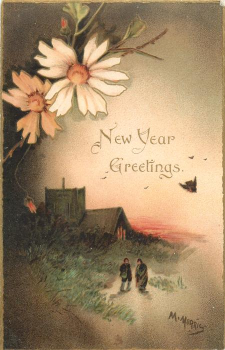 NEW YEAR GREETINGS  white and orange flowers above left, two people in front of church below