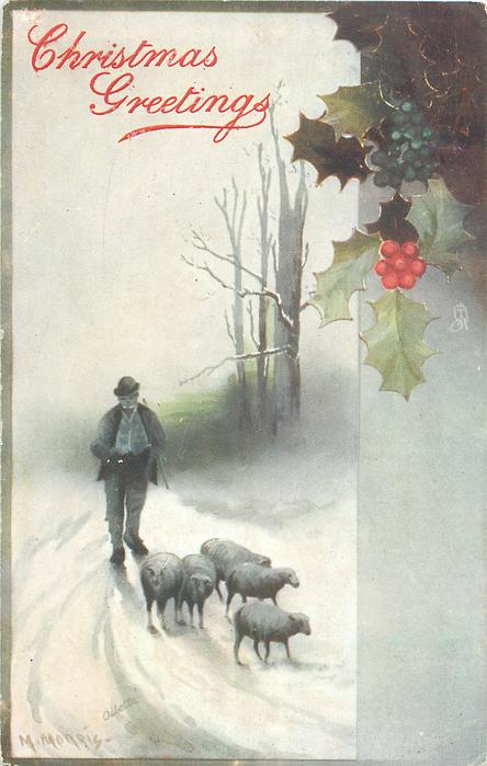 CHRISTMAS GREETINGS or SOUHAITS SINCERES  man follows five sheep, walking forward, snow scene