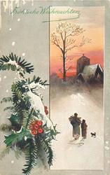FROLICHE WEIHNACHTEN  insert right, man and boy walk away towards church, snowy holly left of insert