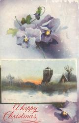 inset sunset behind church, lake in front, purple pansies above & below
