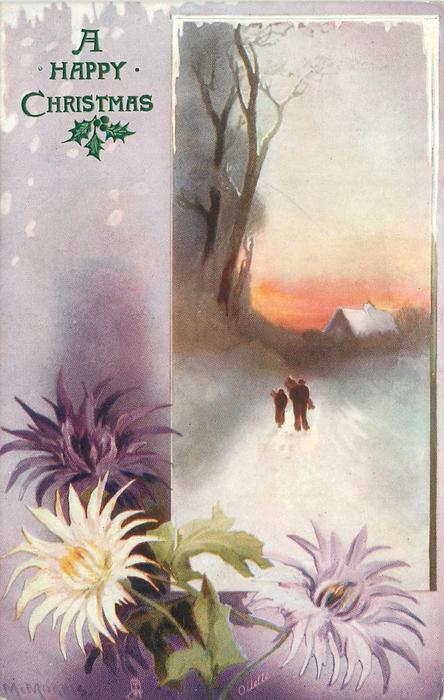 A HAPPY CHRISTMAS  two figures carrying sticks walk back to house, purple and white chrysanthemums lower left