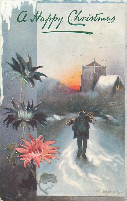man carrying sticks on back walks front, church in background, chrysanthemums left