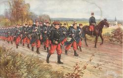 L'INFANTERIE, uniformed soldiers marching down road, officer is mounted