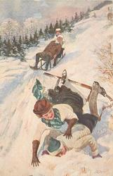 two couples tobogganing, couple in front fall off into snow