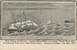 BRIG CLYTUS OF SALTCOATS: CAPTAIN BETSY MILLER IN A STRONG NORTH-WEST GALE RECEIVING HER PILOT CLOSE UNDER HOUTH HEAD. BOUND FOR DUBLIN, 13TH MAY 1856