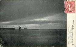 distant jetty with lighthouse left, distant sailing & steam ships