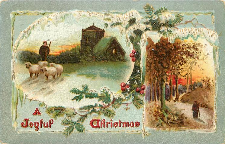 A JOYFUL CHRISTMAS  church behind shepherd & four sheep, inset autumn scene