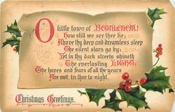 CHRISTMAS GREETINGS  O LITTLE TOWN OF BETHLEHEM! HOW STILL WE SEE THEE LIE;//ARE MET IN THEE TO-NIGHT