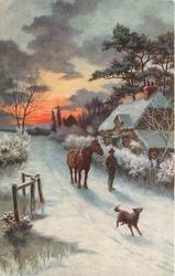 man with horse follows dog down snowy lane