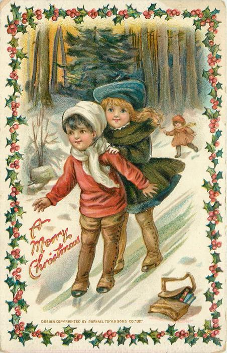 A MERRY CHRISTMAS  boy & girl slide down hill  on ice, small girl follows