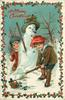 A MERRY CHRISTMAS  boy has shovel of snow in front of snowman, girl behind with snowball