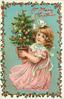 A MERRY CHRISTMAS  girl holds potted decorated Christmas tree